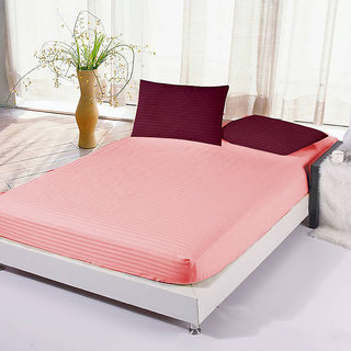 The Intellect Bazaar Satin Cotton King Fitted Elastic Bedsheet With 2  Contrast Pillow Covers,Peach