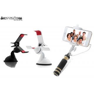combo Pack of Mini Selfie Stick+ Car Mount Holder(Assorted)