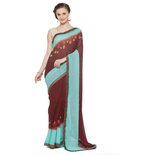 Kvsfab Blue  Brown Color Printed Georgette Saree KVSSR03SPT