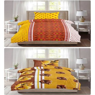 Cotton Bedsheet (KHF Premium Cotton Set of 2 Single Bedsheet, 2 Pillow Cover) Size- Bedsheet 90x60 inch., Pillow Cover 17x27 inch.