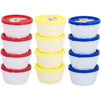 Sellebrity Combo Classic Pack of 12- 4 Blue,4 Red,Yellow Plastic Container