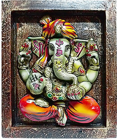 Gift venue's Lord Ganesha Decorative Wooden Wall Hanging(23 x 28 cm)