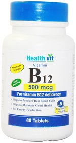 Healthvit Vitamin B12 500mcg For Vitamin B12 Deficiency 60 Tablets
