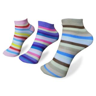 DDH Pair of 3 Women Stripped Print Cotton Ankle Socks Casual Socks