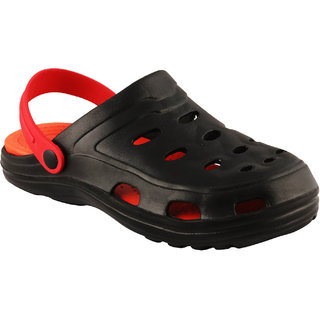 Birde Black Red EVA Slip-On Clogs For Mens