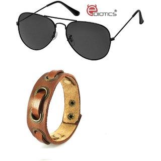 Ediotics Classic Black Aviator Sunglasses with Trendy Mens Fancy Bracelet  (Code - Ediotics0005 MB3) 375671d91b858