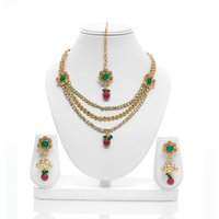 Senorita Traditional Necklace Set PS0009 With Multi Stones And Antique Gold Finishing