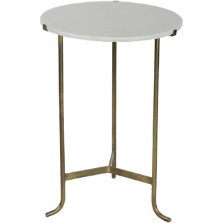 Mani Creations Multicolor Iron Round Marble Top Table / 46x46x65