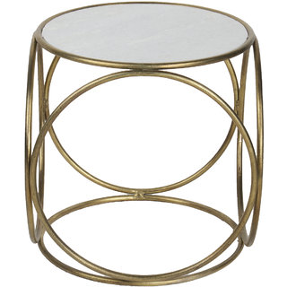 Mani Creations Golden Color Iron Marble Side Table / 40x40x42