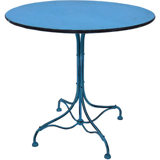 Mani Creations Blue Color Iron Side Table / 80x80x76