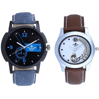 Cronograph Blue Design And Brown Peacock Feathers Girls Analogue Watch By Ganesha Exim