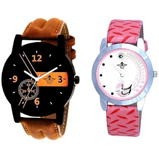 Brown Cronograph Design And Pink Peacock Feathers Girls Analogue Watch By Ganesha Exim