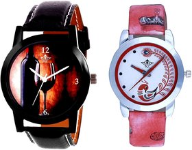 VIP Wine Glass And Red Leather Strap Analogue Watch By