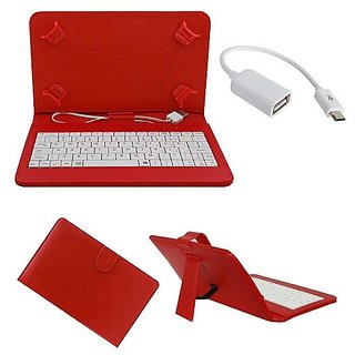 7inch Keyboard HP Slate 6 Tab- Red with OTG Cable by Sanvi Enterprises