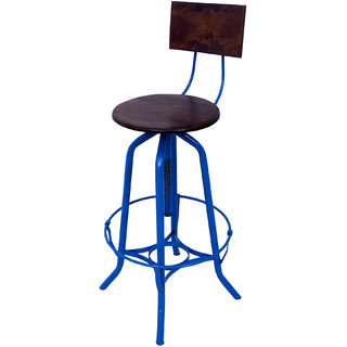 Mani Creations Blue Color Iron + Wooden Bar Chair / 45x45x110