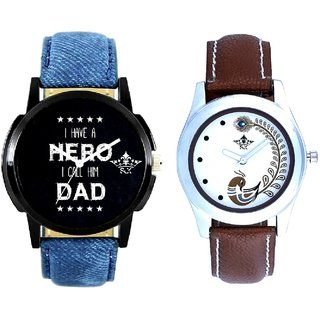 Love For Dad And Brown Peacock Feathers Girls Analogue Watch By Ganesha Exim
