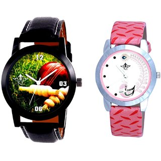 Cricket Stump-Ball Art Dial And Pink Peacock Feathers Girls Analogue Watch By Ganesha Exim