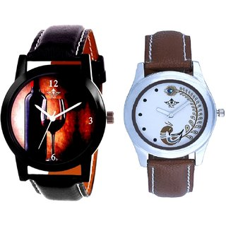Royal Wine Glass And Brown Peacock Feathers Girls Analogue Watch By Ganesha Exim