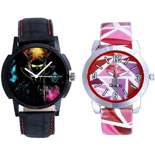 Black Multi Colour And Pink Sep Leather Strap  Analogue Watch By Taj Avenue