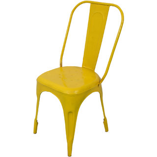 Mani Creations Yellow Color Iron Chair / 47x47x95
