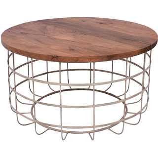 Mani Creations Multicolor Iron + Wooden Top Table / 86x86x49