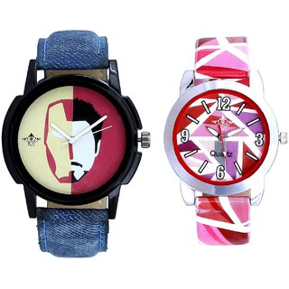 Handsome Tony Stark And Pink Sep Leather Strap  Analogue Watch By Taj Avenue