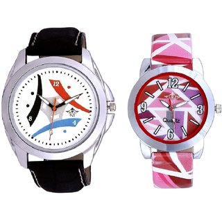 Colourful Tri Fan And Pink Sep Leather Strap  Analogue Watch By Taj Avenue