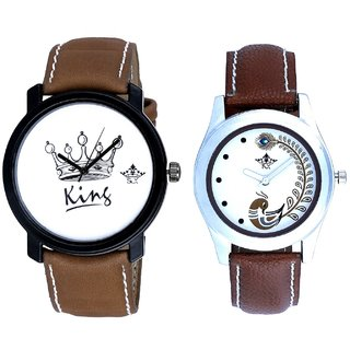 King And Brown Peacock Feathers Girls Analogue Watch By Ganesha Exim