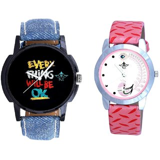 Coloring Every Thinke Will Be Ok Dial And Pink Peacock Feathers Girls Analogue Watch By Ganesha Exim