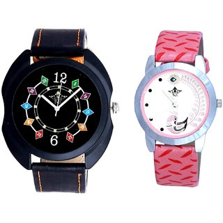Black Dial Coloring Chain And Pink Peacock Feathers Girls Analogue Watch By Ganesha Exim