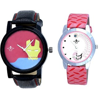 Ironman Mask Dial And Pink Peacock Feathers Girls Analogue Watch By Ganesha Exim