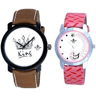 King And Pink Peacock Feathers Girls Analogue Watch By Ganesha Exim