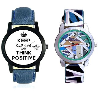 Super Power Of Positive Thinking Round Dial And Sky Blue Sep Leather Strap  Analogue Watch By Taj Avenue