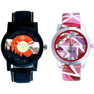 Attractive Mount Themes And Pink Sep Leather Strap  Analogue Watch By Taj Avenue