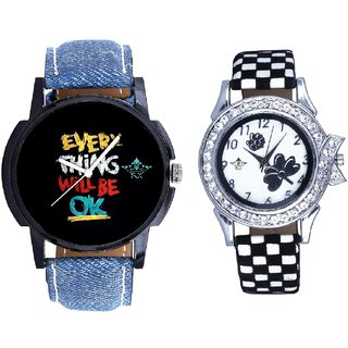 Coloring Every Thinke Will Be Ok Dial And Black-White Strap Girls Analogue Watch By Ganesha Exim