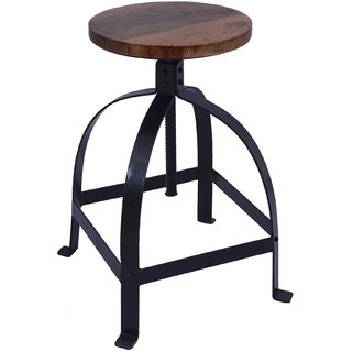Mani Creations Multicolor Iron + Wooden Stool / 43x43x59
