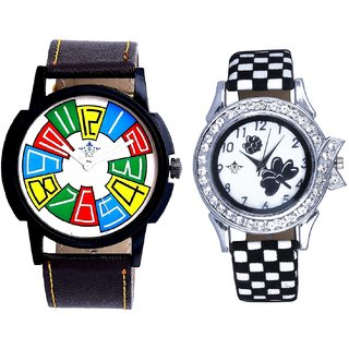 Professional Multi Colour Dial And Black-White Strap Girls Analogue Watch By Ganesha Exim