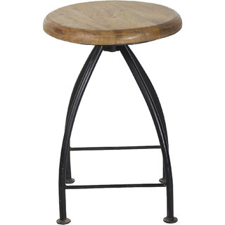 Mani Creations Black Color Iron + Wooden Stool / 36x36x76