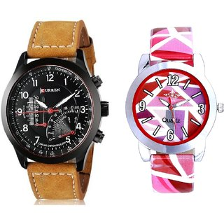 Curren Temprature And Pink Sep Leather Strap  Analogue Watch By Taj Avenue
