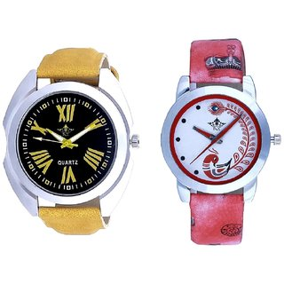 Exclusive Roman Digits Designer And Red Leather Strap Analogue Watch By Taj Avenue