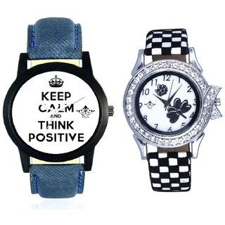 Men Thinking And Black-White Strap Girls Analogue Watch By Ganesha Exim
