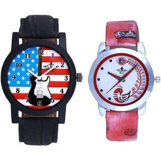 Awesome Design And Red Leather Strap Analogue Watch By Taj Avenue