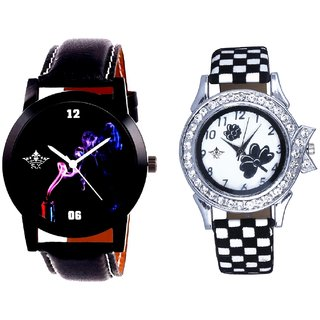 Colouring Spring Cigar And Black-White Strap Girls Analogue Watch By Ganesha Exim