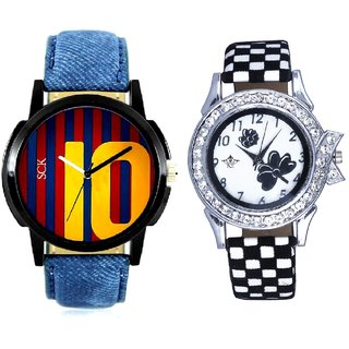 Colour 10 Art And Black-White Strap Girls Analogue Watch By Ganesha Exim
