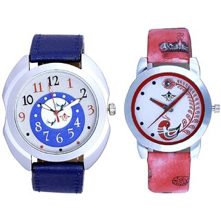 Exclusive Blue Dial And Red Leather Strap Analogue Watch By Taj Avenue