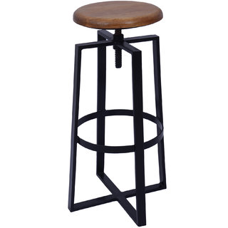 Mani Creations Multicolor Iron + Wooden Stool / 35x35x69