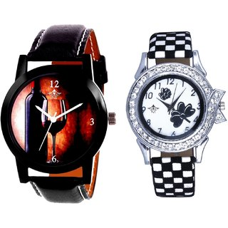 Royal Wine Glass And Black-White Strap Girls Analogue Watch By Ganesha Exim