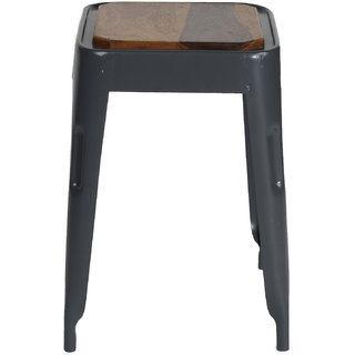 Mani Creations Multicolor Iron + Wooden Stool / 33x33x46