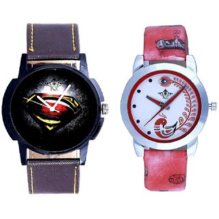 Black Dial Art And Red Leather Strap Analogue Watch By Taj Avenue