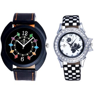 Black Dial Coloring Chain And Black-White Strap Girls Analogue Watch By Ganesha Exim